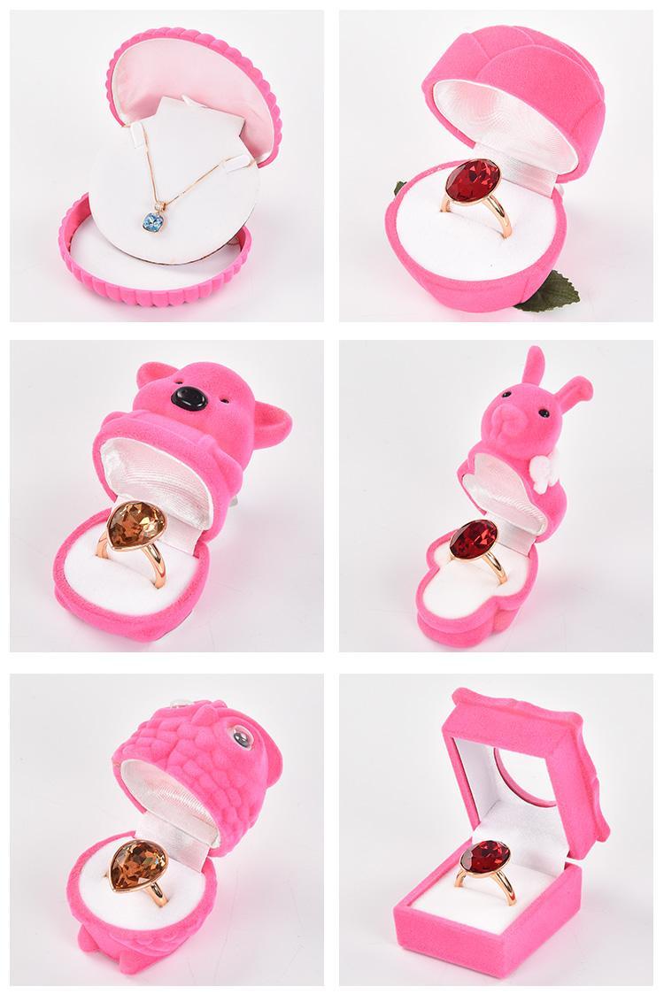 تسمية خاصة رخيصة لطيف مصنع مجموعة الوردي الحيوان قلادة هدية مربع التعبئة والتغليف والمجوهرات عصابة
