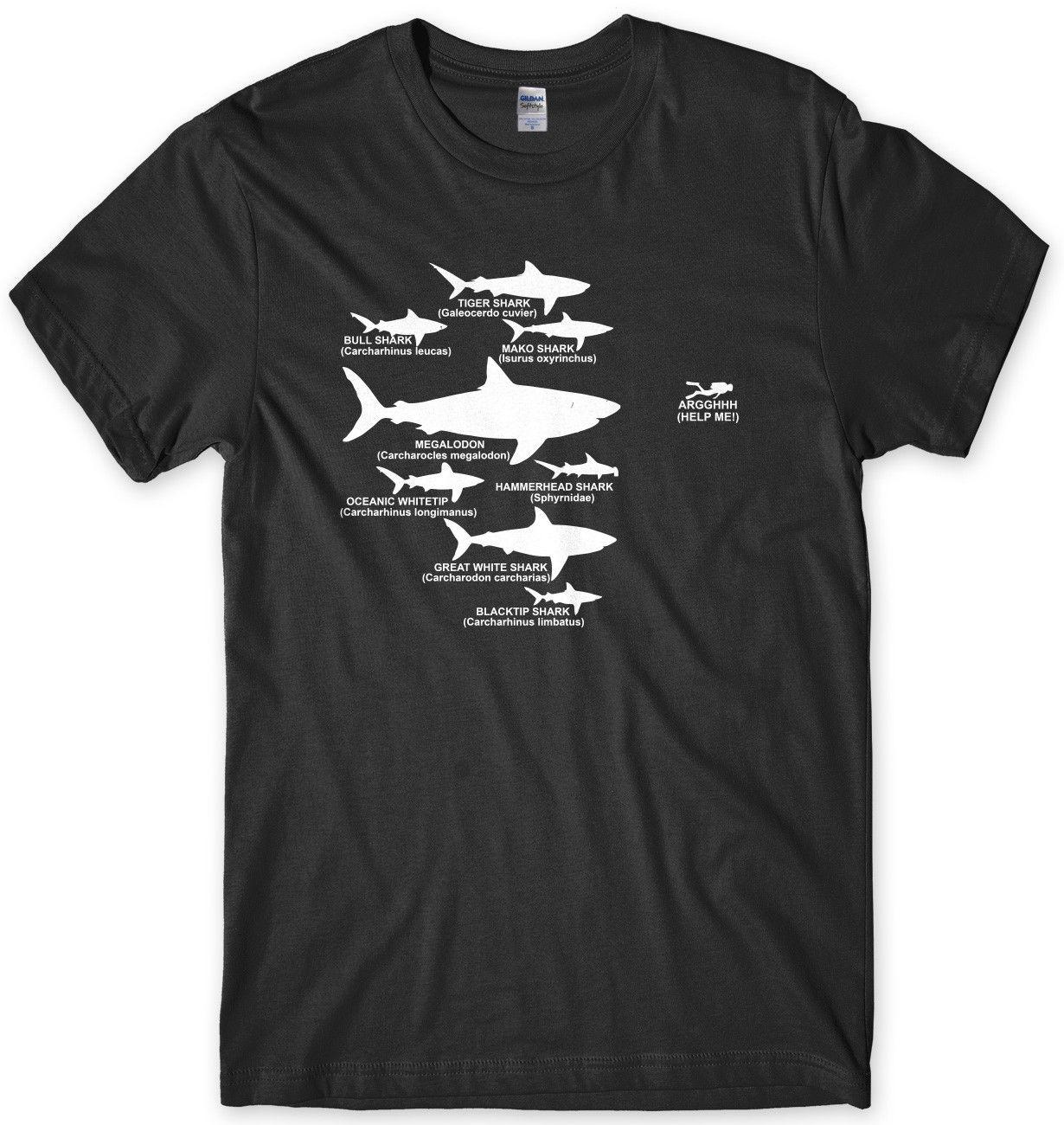 Shark Diver Gerarchia Diving divertente Mens unisex T-shirt