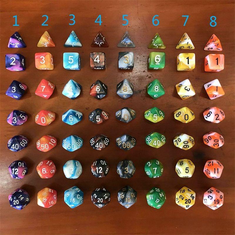 7 قطع تعيين تشغيل دور المجموعة النرد مجلس اللعب ألعاب النردات متعددة الأوجه الرخام مادة من مواد رياضة وترفيه 4 88dx E2