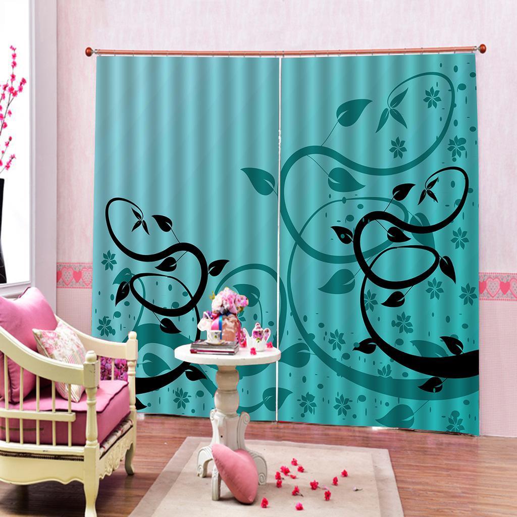 Diseño a la medida Azul marino Negro hojas de impresión cortinas de ventana 3D digital para salón dormitorio Juegos de dormitorio con climatizador,