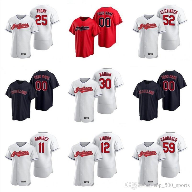2020 Leonys Martin Jersey Mike Freeman Francisco Lindor Jose Ramirez Edwin Encarnacion Red Baseball Jerseys 사용자 정의 스티치