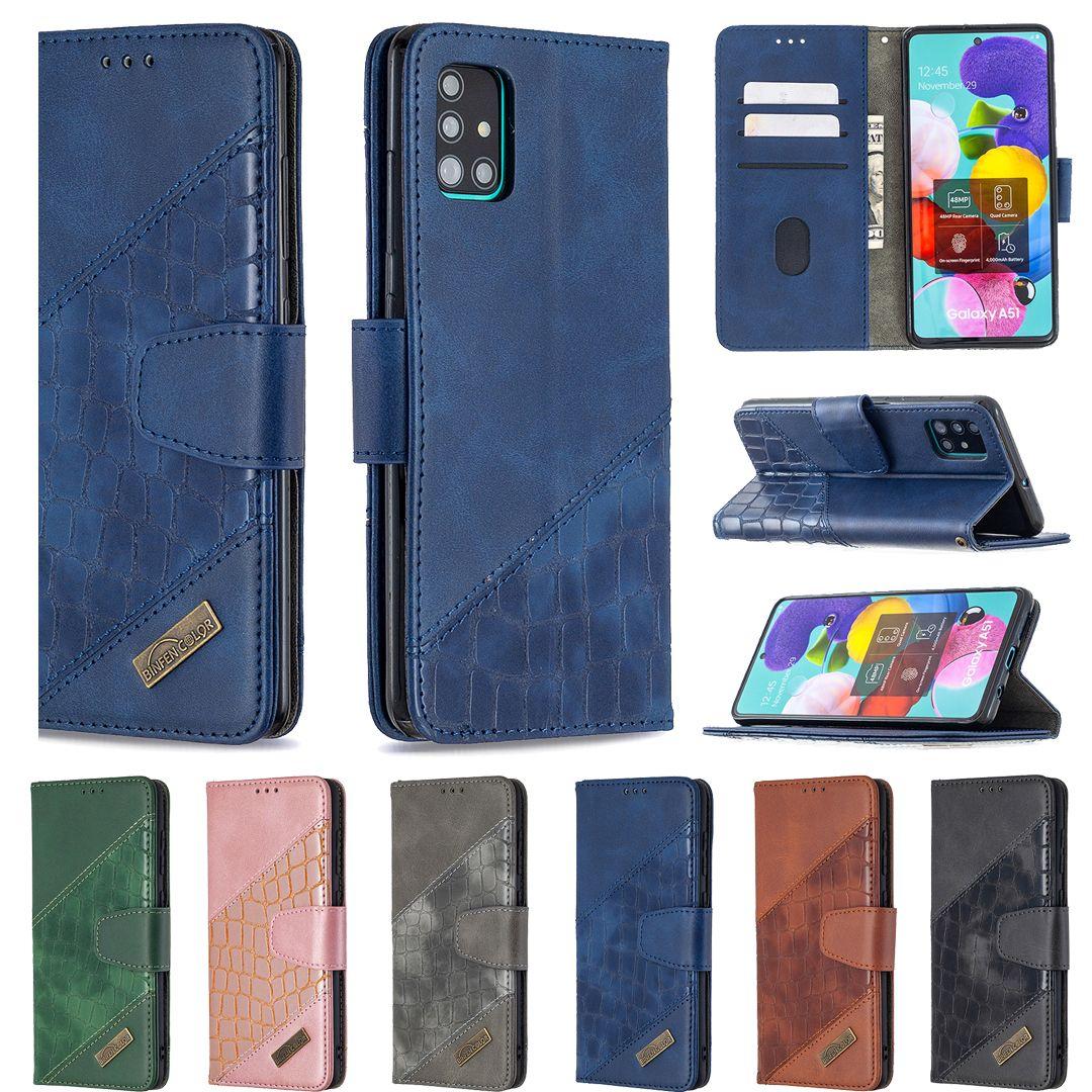 Cartera de cuero de cocodrilo del caso para Samsung Nota 20 10 Pro S20 Ultra S20FE S10 A21S A01 A51 A71 tarjeta de la ranura del sostenedor híbrido Coro de la serpiente cubierta del tirón