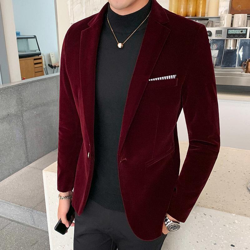 Capa de Autum vestido de novia de terciopelo para hombre chaqueta de la chaqueta forma el juego ocasional JacketStage DJ de los hombres de negocios Blazers Veste vestuario Homme CX200730