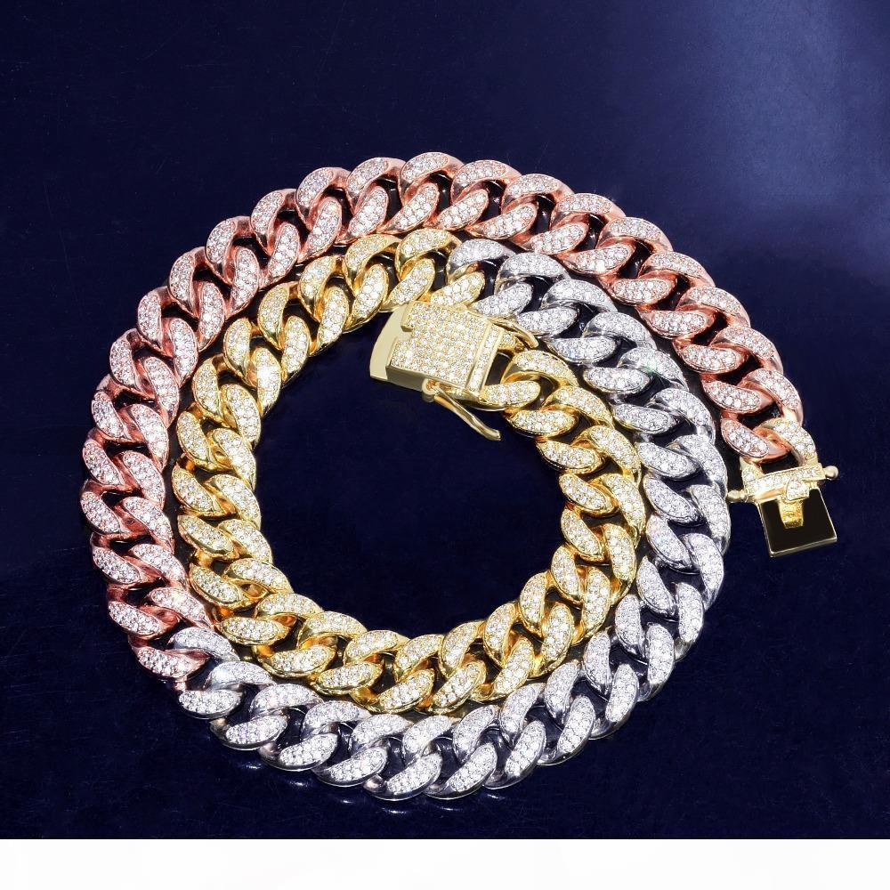 12mm Mixed Color Cuban Necklace Chain Iced Out Zircon Hip hop Jewelry Gold Silver Copper Material CZ Clasp Mens Necklace Link 16-28inch