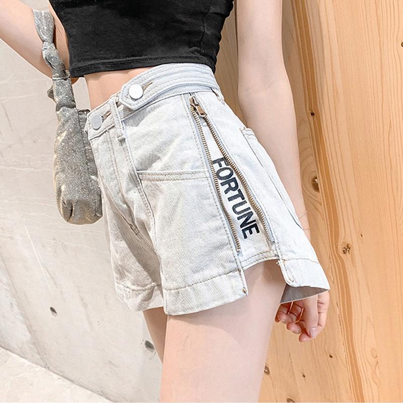 Shorts del denim bicchierini delle donne pantaloni Zipper vita alta gamba larga pantaloni 2020 Estate lettere Fortune nuovo stile casuale 622G hMR2 #
