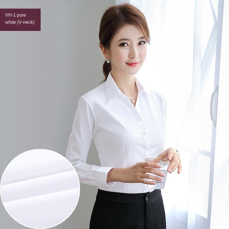 Scollo a V vestito convenzionale in stile coreano di 0ngZW Donne bianca a maniche lunghe slim-fit attività di usura da lavoro vestiti della camicia pollici lavoro camicia di cotone tutto-m
