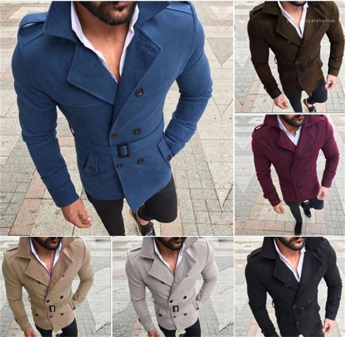 Kış Erkek Yün Katı Renk V Yaka Sıcaklık Windproof Mens Tasarımcısı Coats Uzun Kollu İnce Çift Breasted Erkek WINDBREAKER Kayışlı