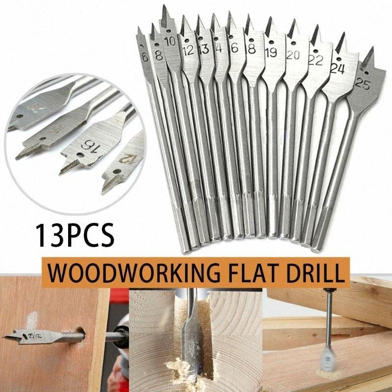 13PCS madera Broca Set pala cuadrada hexagonal de mango Bits 150 mm Longitud de 6 mm a 25 mm JS23 sNsQ #
