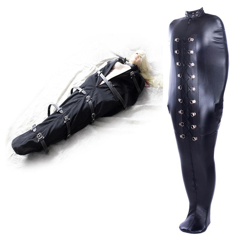 BDSM Sexo Encuadernación de piel sirena Mummie cuerpo Bondage bolsa de dormir saco del bolso de la chaqueta recta Medias Mujer del traje erótico exótico Y200616 Sexo