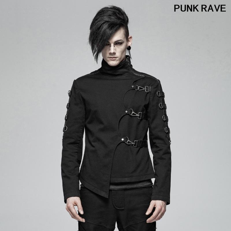 Punk ambos lados de la manga de coser el cuero de la PU Coat corto ocasional de la manera negro asimétrico de la tela cruzada de los hombres de la chaqueta PUNK RAVE WY-1017XDM