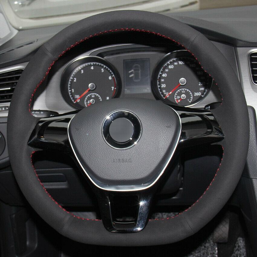 Car cousu main en daim noir Housse de volant pour VW Golf 7 Mk7 Polo Jetta