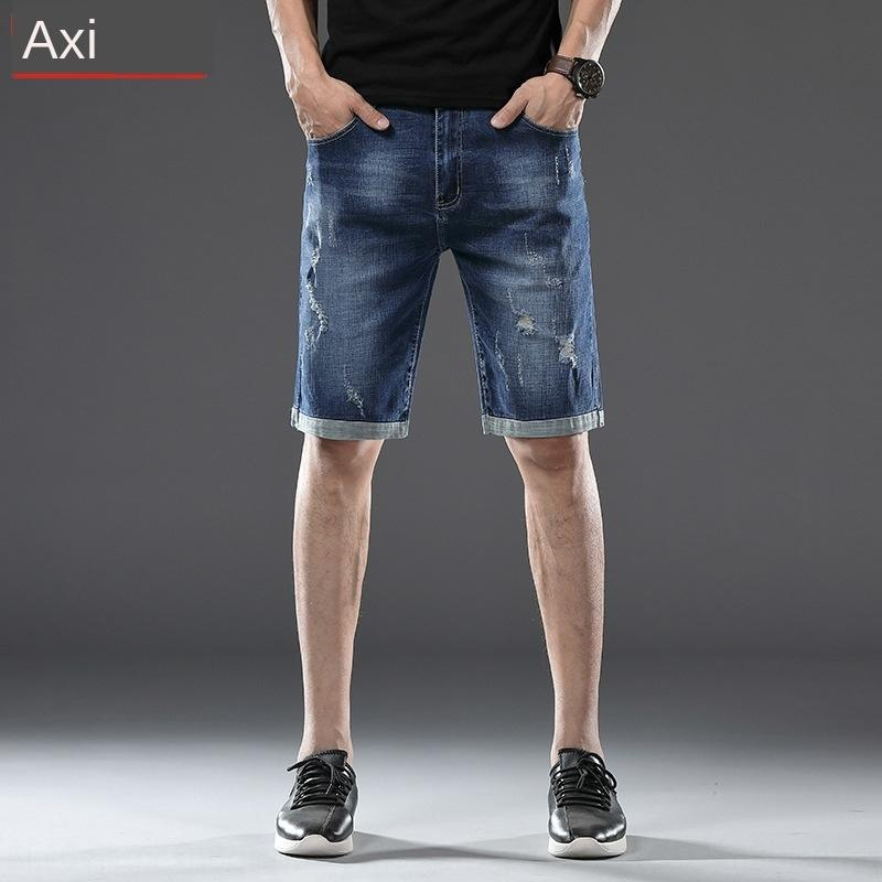mFktl Summer new men's ripped five-point and jeans and jeans Shorts men's youth fashion all-match straight stretch shorts hot P76