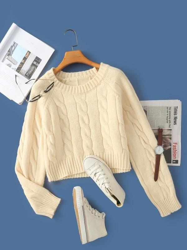 2020 Nouvelle marque de mode Femmes Pull tricoté Ordinateur Casual court overs O-cou solide pleine de polyester standard