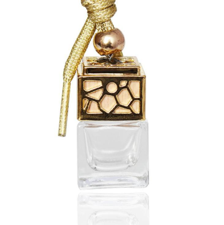 Perfume bottle Cube Car Hanging Perfume Ornament Air Freshener Essential Oils Diffuser Fragrance Empty Glass Bottle 5ml SN1279