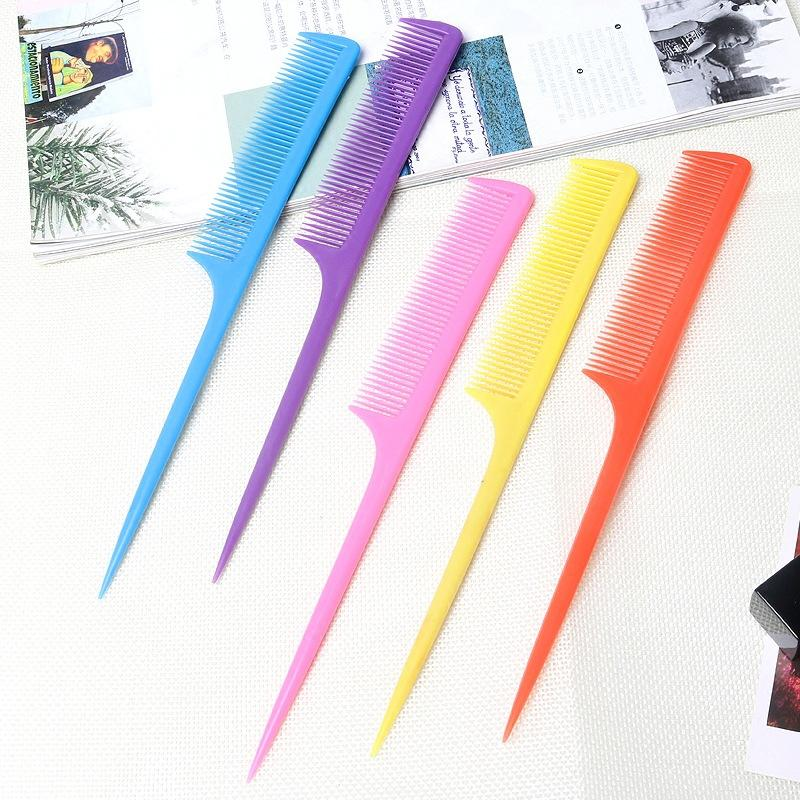 الذيل طويل البلاستيك مشط كاندي اللون تقديم أدوات يصل كومز حلاقة التصميم فرشاة الشعر الحلاق مكافحة ساكنة منع الغزل 0 09zm B2
