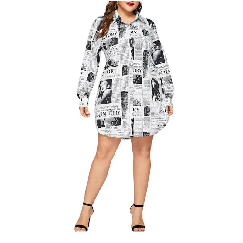 Повседневный газета напечатала белая рубашка плюс размер блузка Женщины Cothes с длинным рукавом Vintage платье партии Blusas Mujer De Moda 2020 T200720