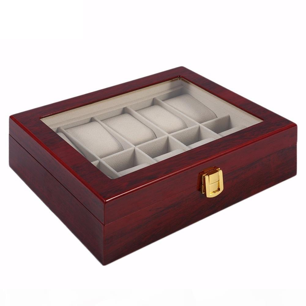 Antique Style Red Wooden Holder Watch Box Case Cotton Lining 10 Grids Storage Organizer Jewelry Display Collection