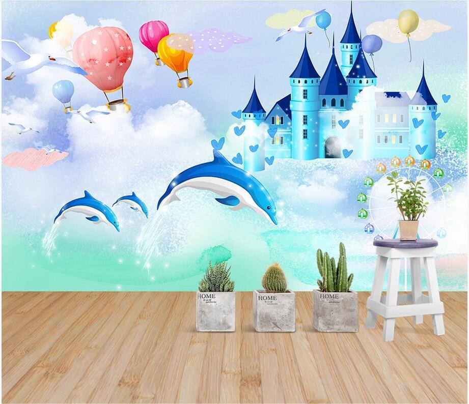 3D الجدارية صورة خلفية مخصصة الخيال الغيوم بالون القلعة الهيدروجين دولفين الجداريات غرفة خلفية الأطفال خلفية للجدران 3 د
