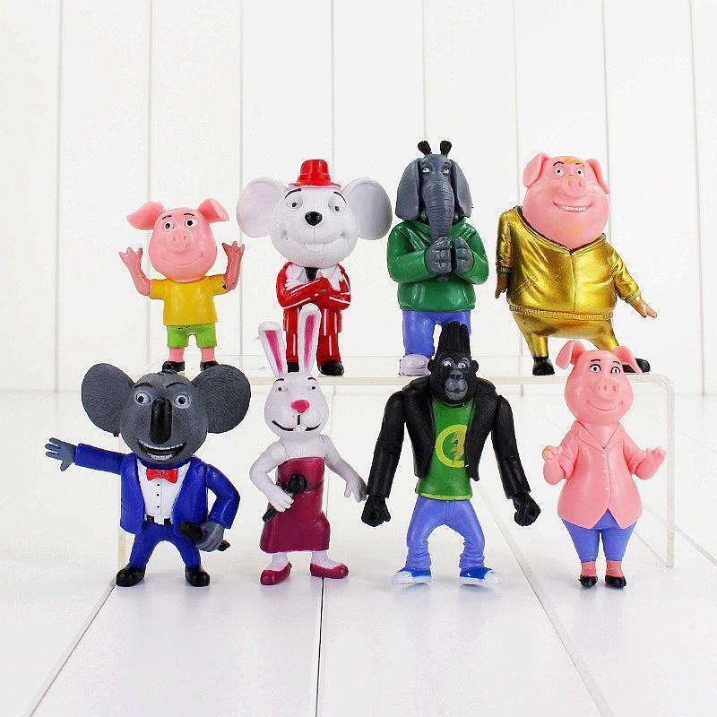 8pcs / lot Canta Figure Toy Buster Koala Johnny Rossi Minna Mike Maiale Coniglio Elephant mouse Orangutan Doll modello animale per i bambini T200603