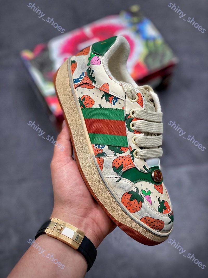 Gucci loafer shoes Moda Donna di Parigi il progettista del mens scarpe UP banda bianca jacquard nera Ace high-top con verde e rosso fragola Web sporca sneaker nessuna scatola