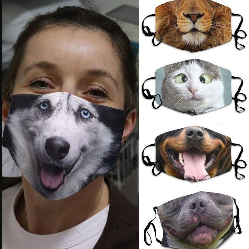 Masken 3D-Drucken Lustige Gesichtsmaske Schutz Ohr-hängen Covering Tier Waschbar Wiederverwendbare Mund Erwachsene Unisex Design-Masken LSK459 Maske Drucken