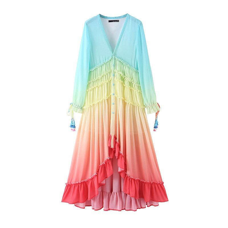 Boho A Line Fashion 2020 V Neck Gradient Rainbow Color Button Long Dress Sexy Beach Holiday Tassel Long Sleeve Ruffles Women Dresses