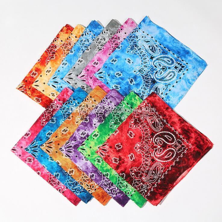 Novidade Hip-hop Cachecol Moda Tie-Dyeing castanha de caju agradável cabeça do teste padrão Bandanas Unisex Magia Seamless Exteriores lenço 12 cores