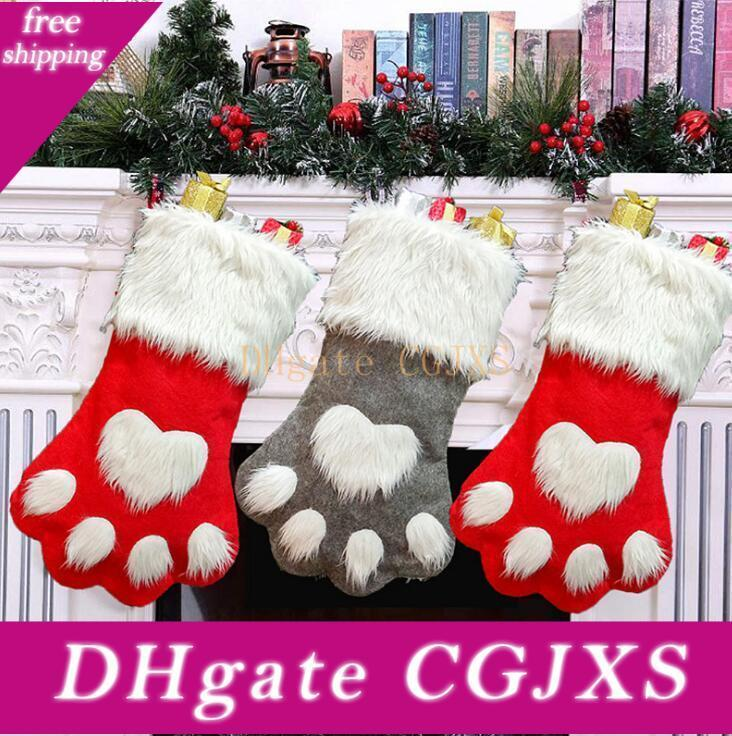 Dog Creative Paw Bas de Noël Décorations d'arbre de Noël Chaussettes Décoration Enfants Bonbons Sacs Sacs cadeaux