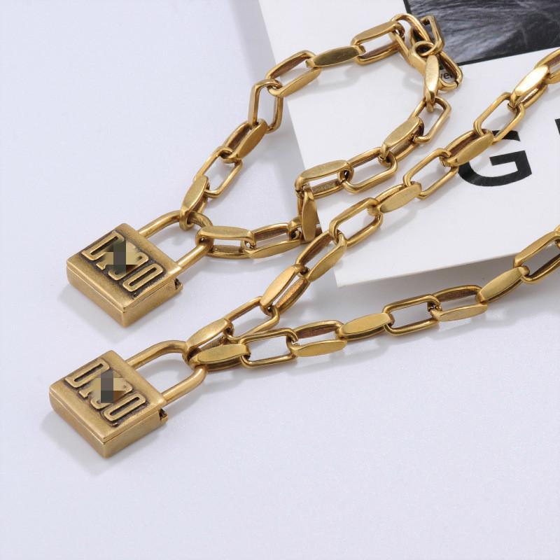 2020cd Blocco in ottone collana femminile piccolo esagerato hip-hop stile punk collana temperamento catena femminile piccolo braccialetto di serratura