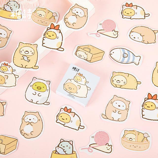ducation Ofisi etiket etiket ka scrapbooking 45 adet / lot Sevimli karikatür kedi hayvan, mini kağıt etiket dekorasyon DIY ablum günlüğü Malzemeleri ...
