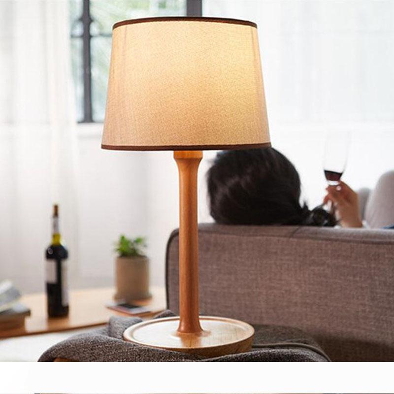 In legno Lampada da tavolo in tessuto E27 studio camera d'albergo lampada da tavolo moderna semplicità comodino luci LR017