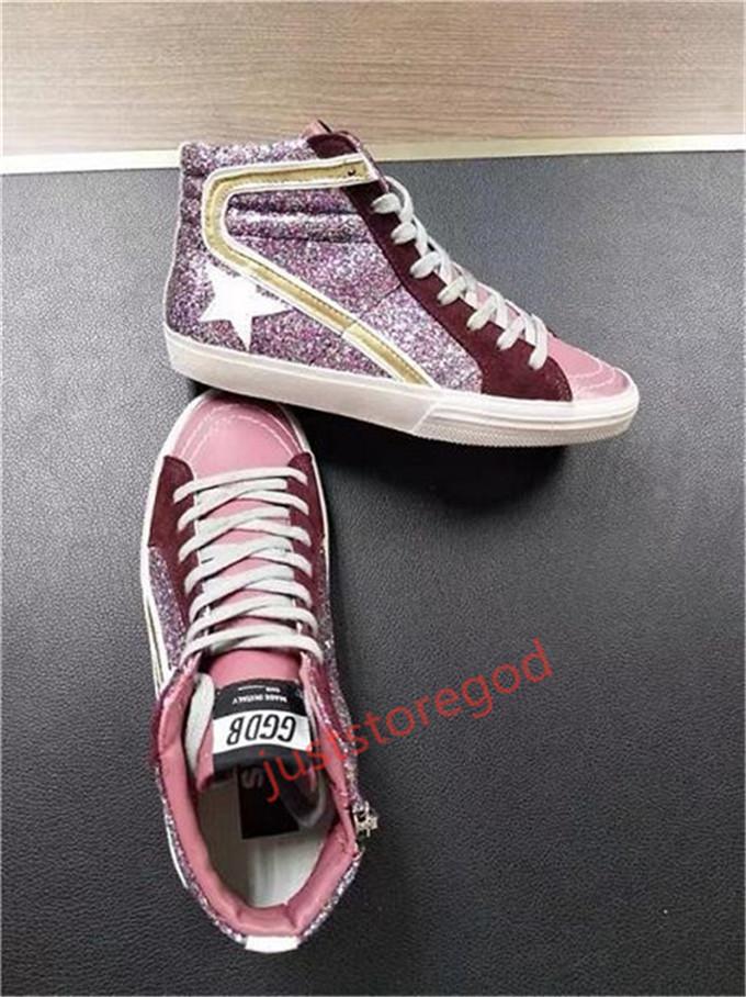 Nuevo Popular B2 nuevo de alta calidad italianos zapatos hechos a mano los hombres y las mujeres del alto-top zapatos zapatillas de deporte de moda de cuero del muchacho grande de los zapatos estupendos de la estrella