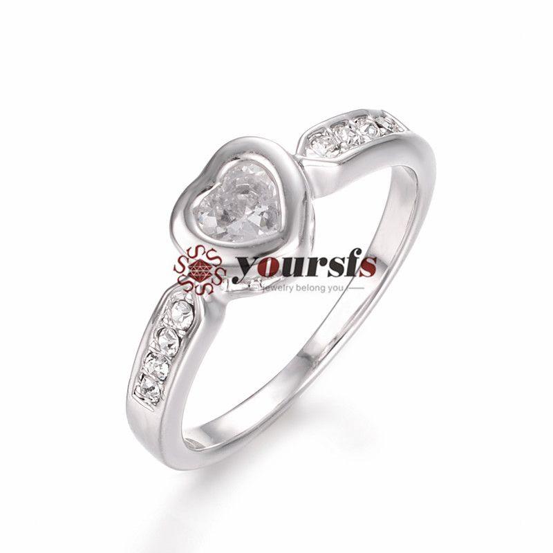 Yoursfs18k placcato oro cristallo cuore anello di nozze gioielli donna