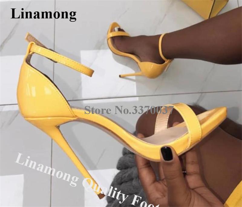 Linamong verano de las mujeres del talón clásico del estilo uno Correa estilete sandalias de charol rosa amarillo de tacón alto vestido de los talones sandalias