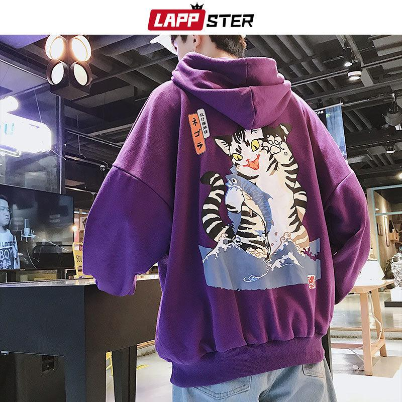 LAPPSTER Uomini Streetwear Casual Gatto con cappuccio Felpe con cappuccio 2020 Fashions Mens Hip Hop Harajuku Felpe maschio coreano nero con cappuccio INS CX200723