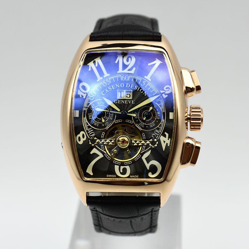 Tourbillon hombres del reloj mecánico banda de la marca de cuero de lujo superior CASENO DayDate hombres automática reloj esqueleto de entrega directa de reloj masculino