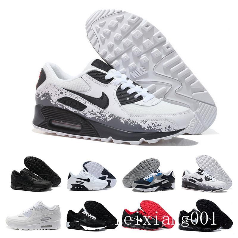 2019 Новый 90 Кроссовки Классический Мужчины Женщины Спорт Обувь Черный Красный Белый Trainer воздушной подушке дышащий Air90 Холст обувь GTT-9