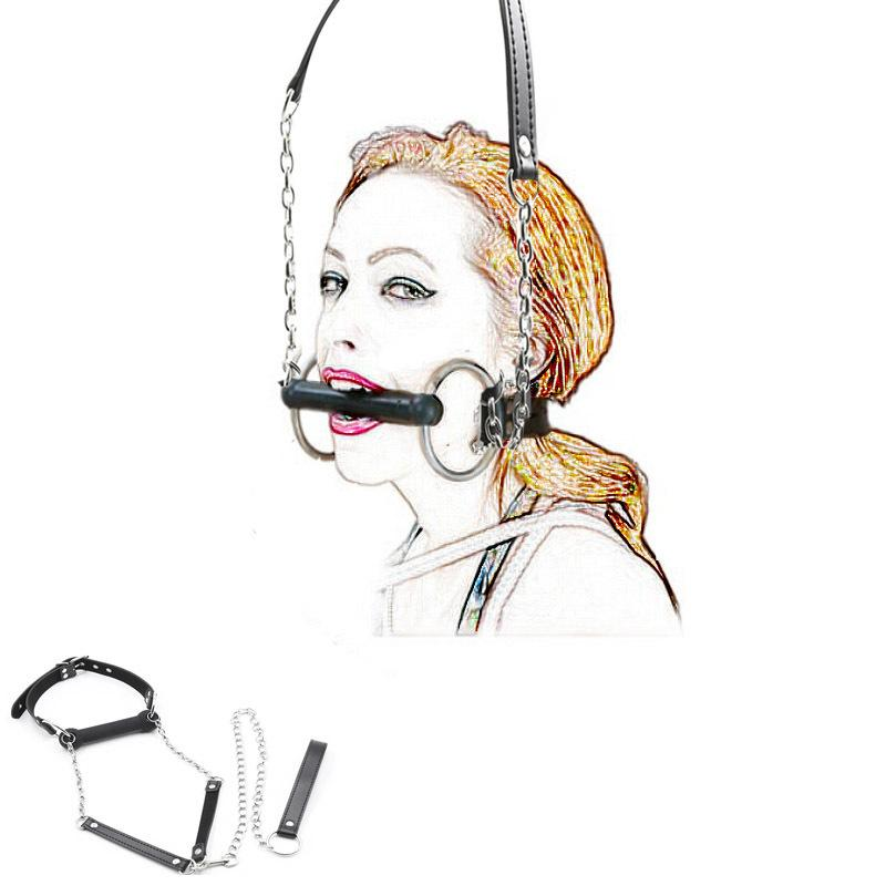 Mouth Gag Ball,Leash Chain Attached,Leather Dog Pet Bone Harness Stick Restraint,Bdsm Bondage Sex Toys Cosplay CX200718