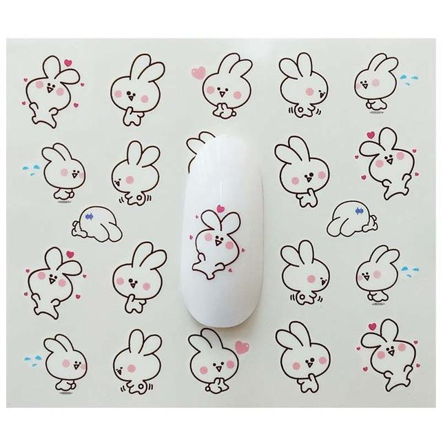 Cheap Stickers & Decals Watermark Cute rabbit Cartoon Stickers Nail Art Water Transfer Tips Decals Beauty Temporary Tattoos Tools E21
