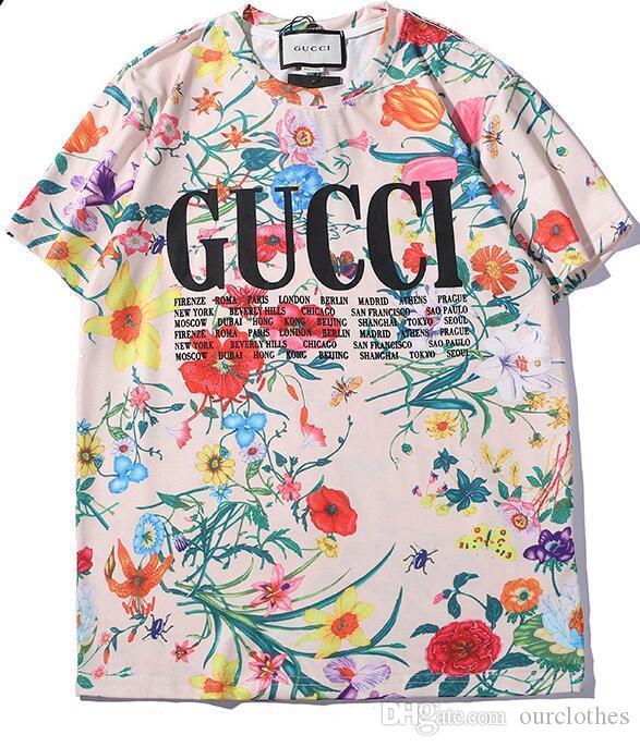Mujeres al por mayor del verano del Mens del diseñador de la camisa Marca camisetas con letras transpirable para hombre de manga corta Tops Con Flores Tee Shirts 22