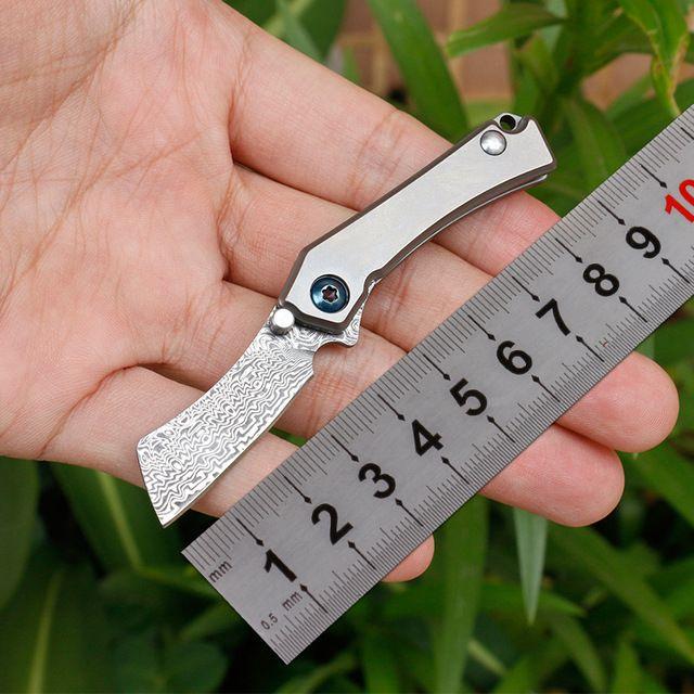 высокое качество мини-легкий вес титана ручка дамасской лезвие плавное открывание складной кемпинг нож фрукты нож EDC инструмент