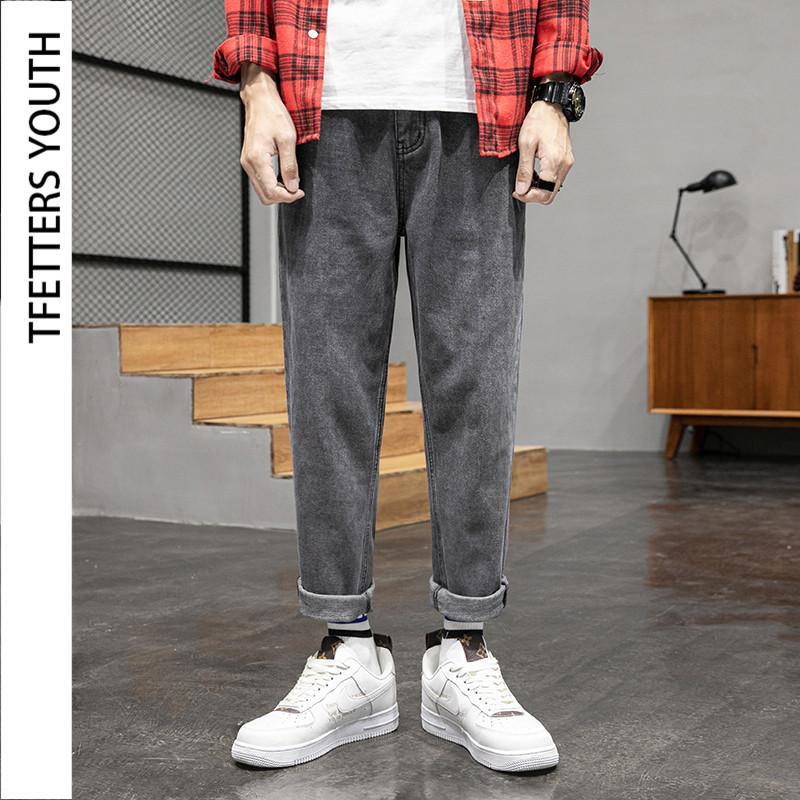 TFETTERS 2020 Jeans Männer der neuen koreanische Street Style Fallen Wide Leg loser Mid gerade Hosen Korean Trend Herren-Jeans-Marken