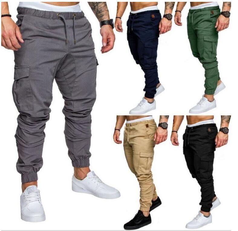 Marca Autumn Men Pantalones Hip Hop 2019 Joggers Pantalones Nuevos Pantalones Masculinos Hombre Solid Multi-Pocket Pantalones de carga Skinny Fit Sweetpants