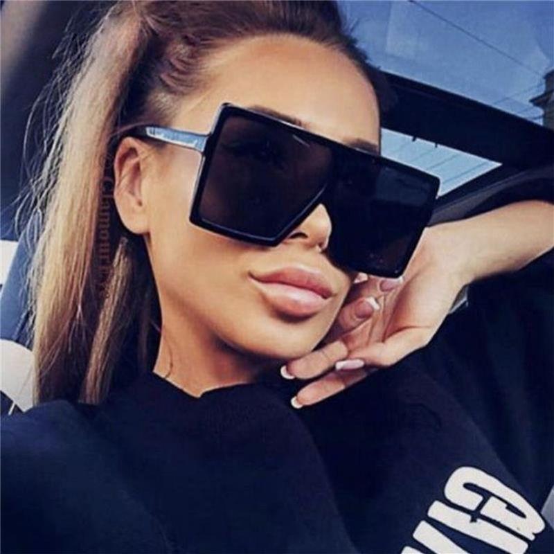 Fashion Square Black Unisex Woman Oversized Shades Glasses Big Sunglasses Sunglasses Vintage Oculos Glasses Frame Retro Feminino Qcxsb