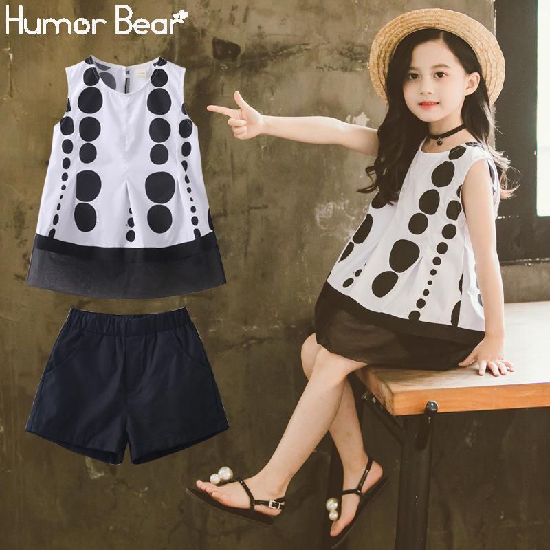 Humor Bär Big Girl Kleidung-Kind-Mädchen-Klage koreanischer Ärmel Tupfen-T-Shirt + Shorts 2Pcs Mädchen Kleidung Sets 4-13Y