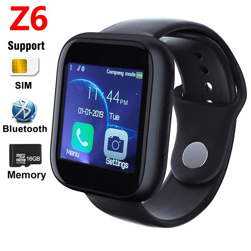 Z6 Smart Watch SIM Card Call Men Women Support TF Card 16GB Memory Camera Bluetooth Phone Clock Watch Alarm Kids Smartwatch For Android IOS