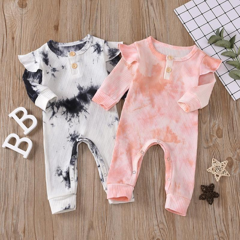 Fashion Newborn Infant Baby Girls Long Sleeve Tie Dyed Printed Long Sleeve Knitted Ruffles Romper Jumpsuit Outfits Clothes#p4