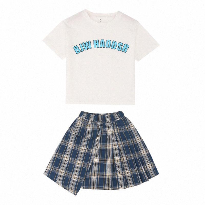 2ST Art und Weise der neue Sommer-neugeborene Baby-Kleidung Baumwollbeiläufiges Kurzarmshirts T-Shirt + skirtToddler Infant Outfit Set 2ucz #