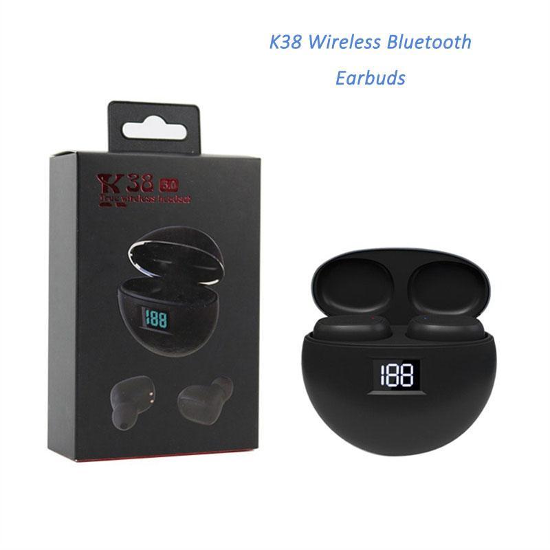 iPhone XR 11 Pro 50pcs LED Şarj Gösterge Kutusu Kulaklık ile K38 Kablosuz Kulaklık Evrensel Bluetooth Kulaklık Dokunmatik Kontrol HiFi Ses