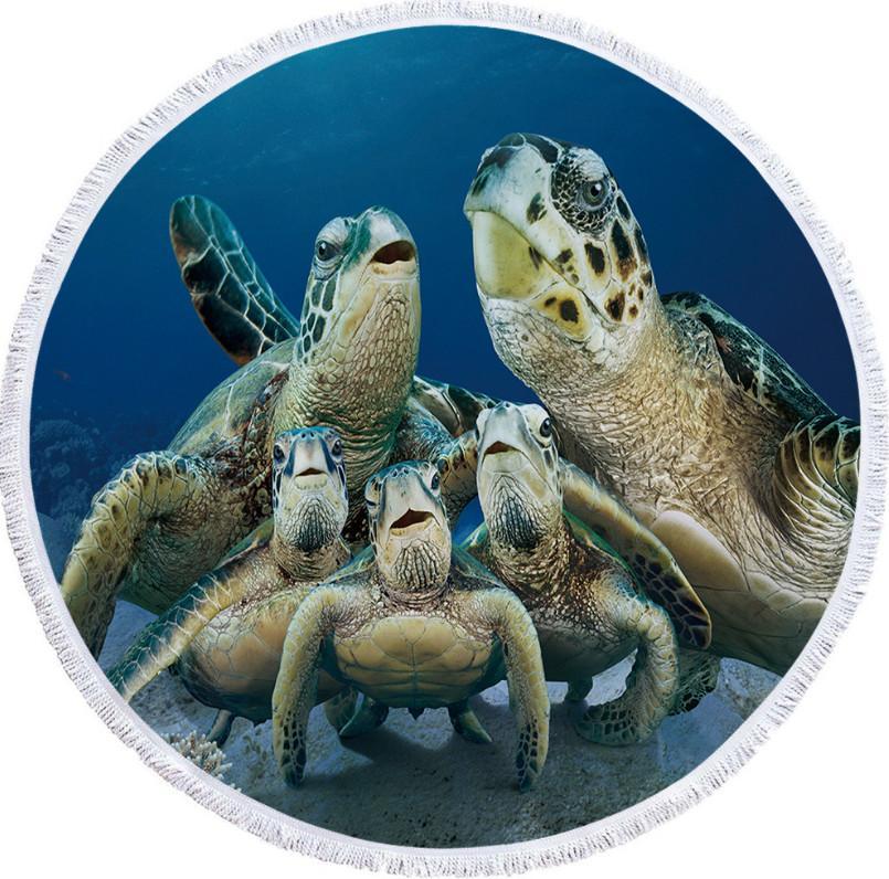 أحدث مقاس 150 سم منشفة شاطئ جولة، 10،000 أنماط للاختيار من بينها، سلحفاة طباعة شال حمام المناشف 3D، ودعم شعار مخصص
